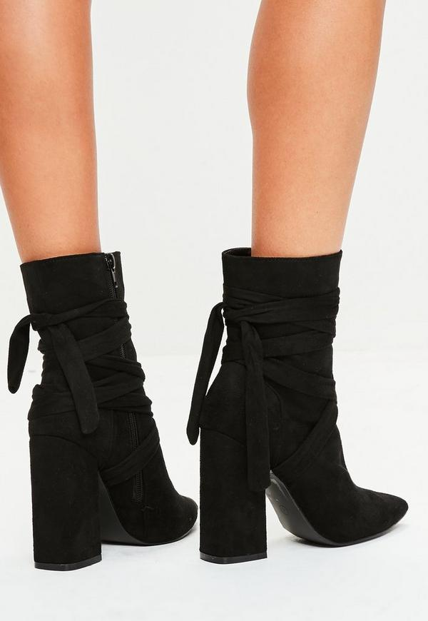 schwarze ankle boots im wickel look missguided. Black Bedroom Furniture Sets. Home Design Ideas