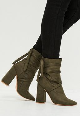 Khaki Ankle Boots mit Wickelschnürung