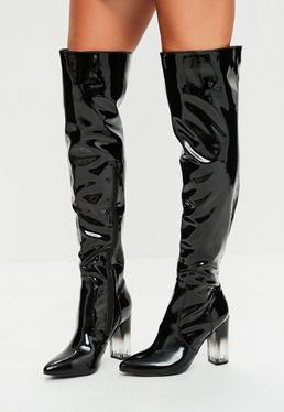 Black Patent Calf Boots