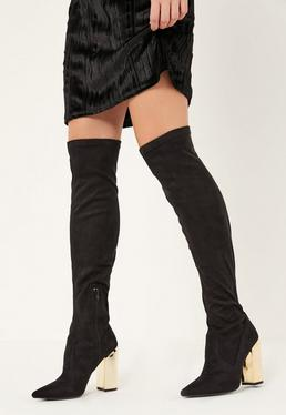 Black Gold Heel Over The Knee Sock Boots