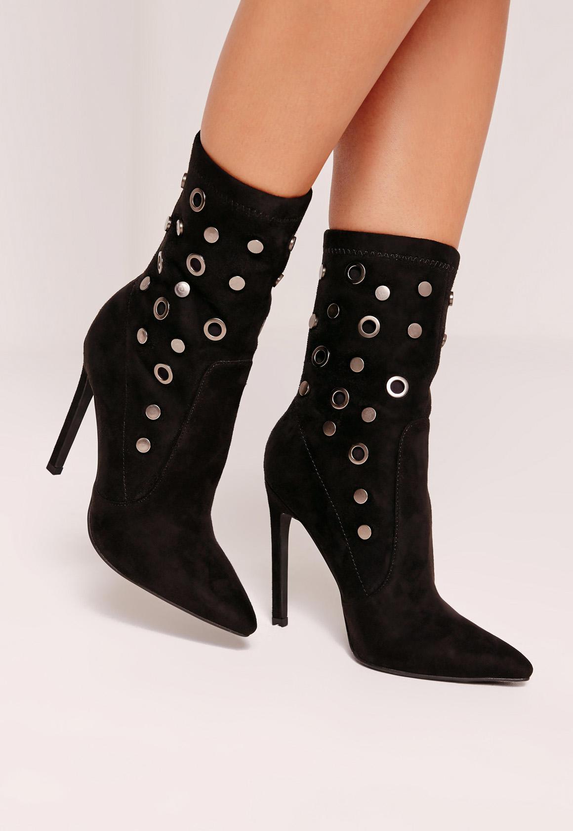 Eyelet Stud Sock Ankle Boot Black