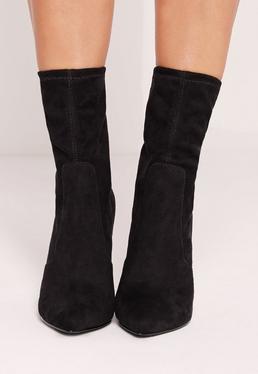Tortoise Shell Ankle Sock Boot Black