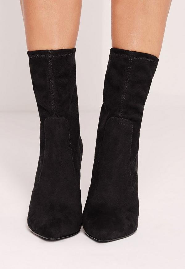 Tortoise Shell Ankle Sock Boot Black