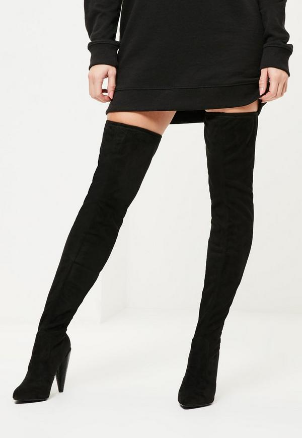 Black Over The Knee Heeled Boots | Missguided