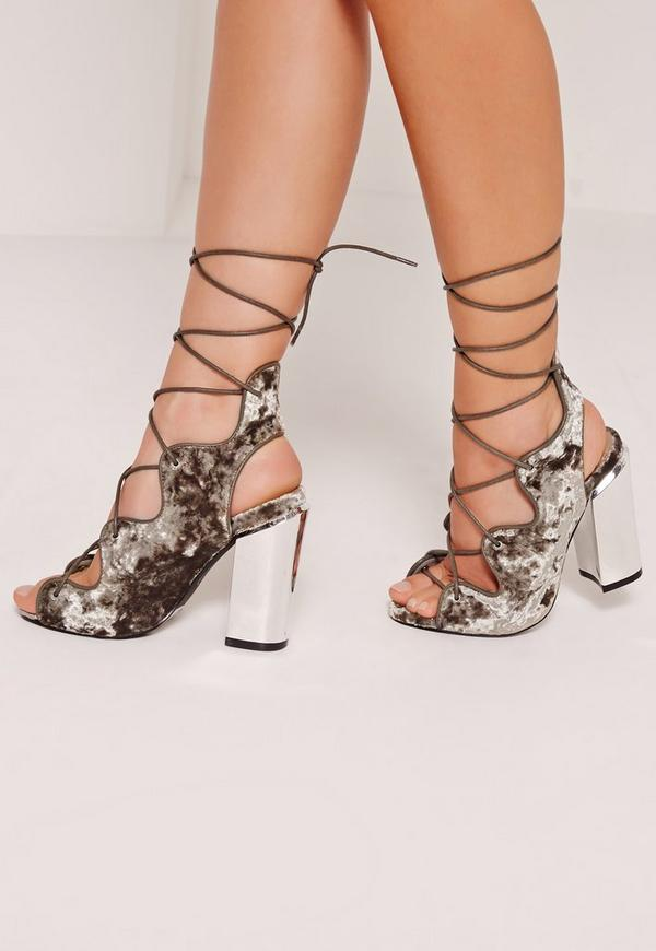 Lace Up Ghillie Block Heels Grey
