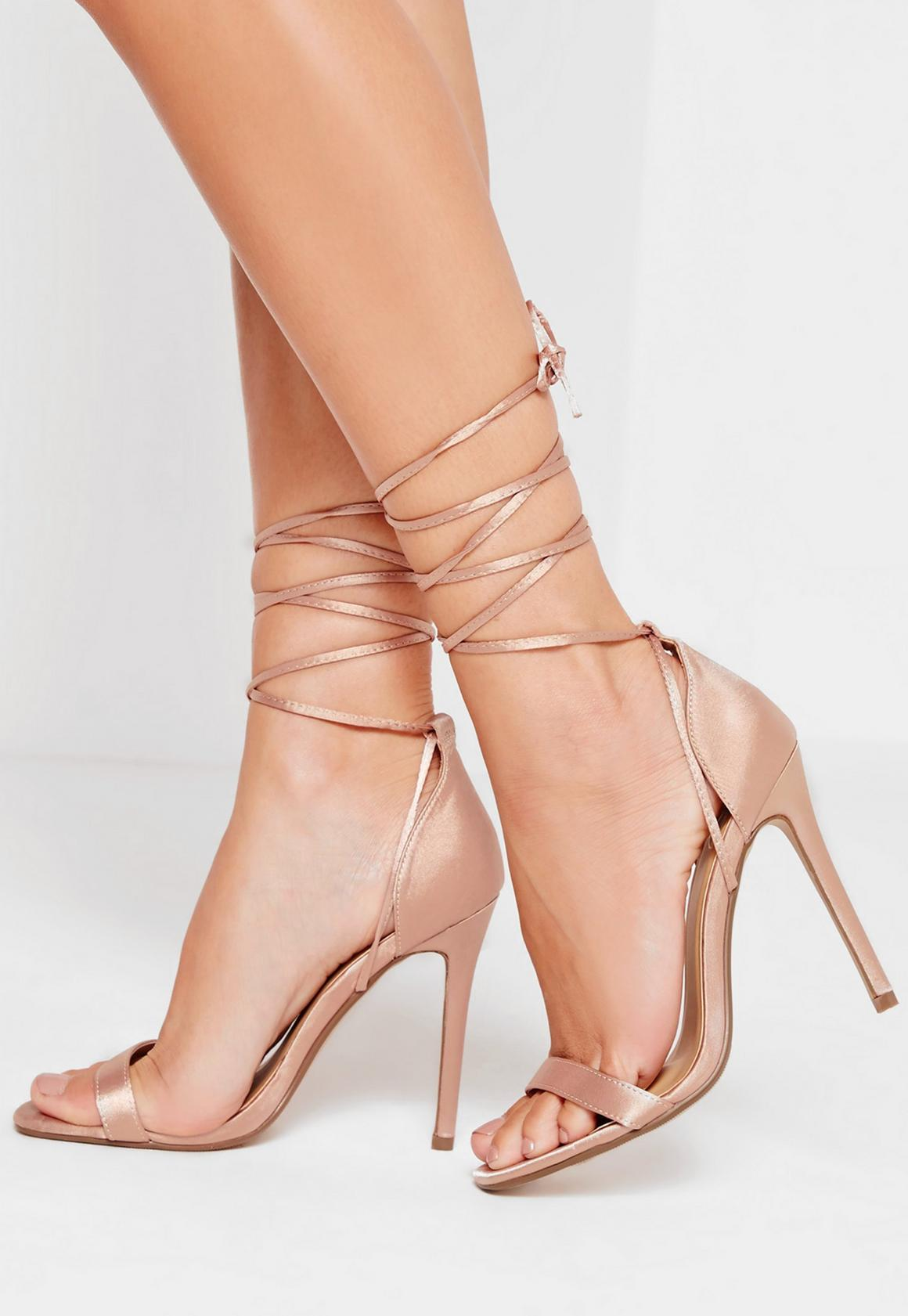 Lace Up Satin Barely There Heels Nude | Missguided Australia