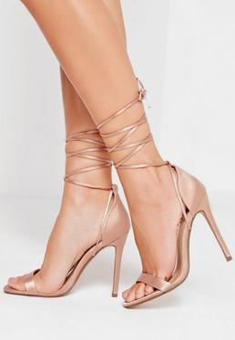Lace Up Satin Barely There Heels Nude