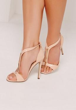 Gold Trim T-Bar Heeled Sandals Nude