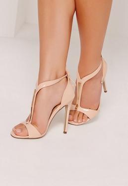Sandales à talons salomées en doré couleur nude