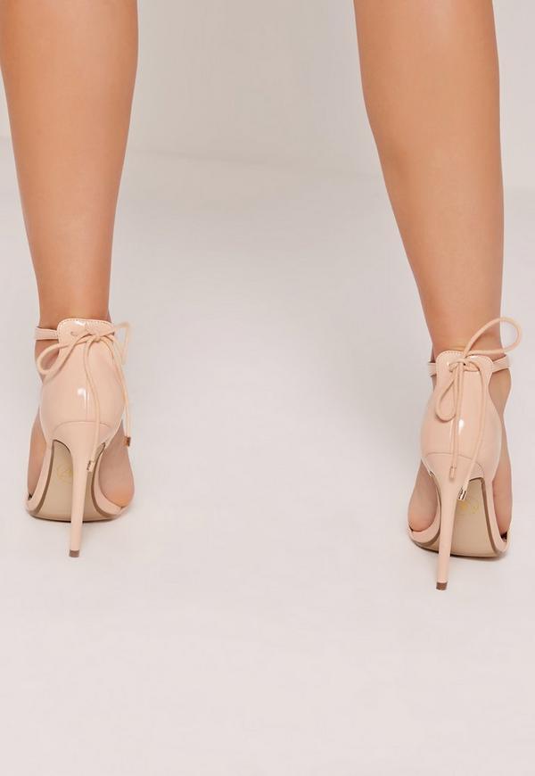 f4e3ef2e172730 Gold Trim T-Bar Heeled Sandals Nude