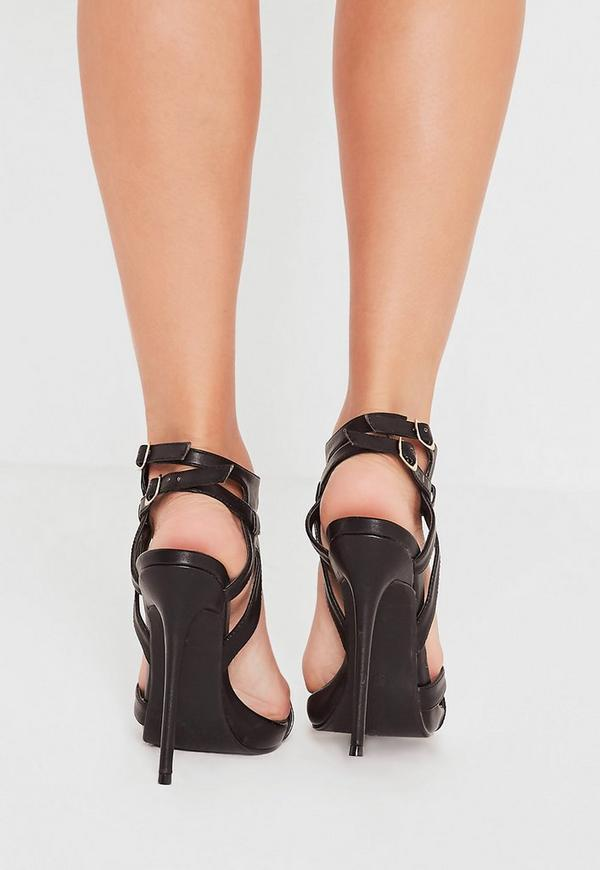 Double Ankle Strap Barely There Heeled Sandals Black