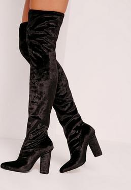 Velvet Over The Knee Boots Black