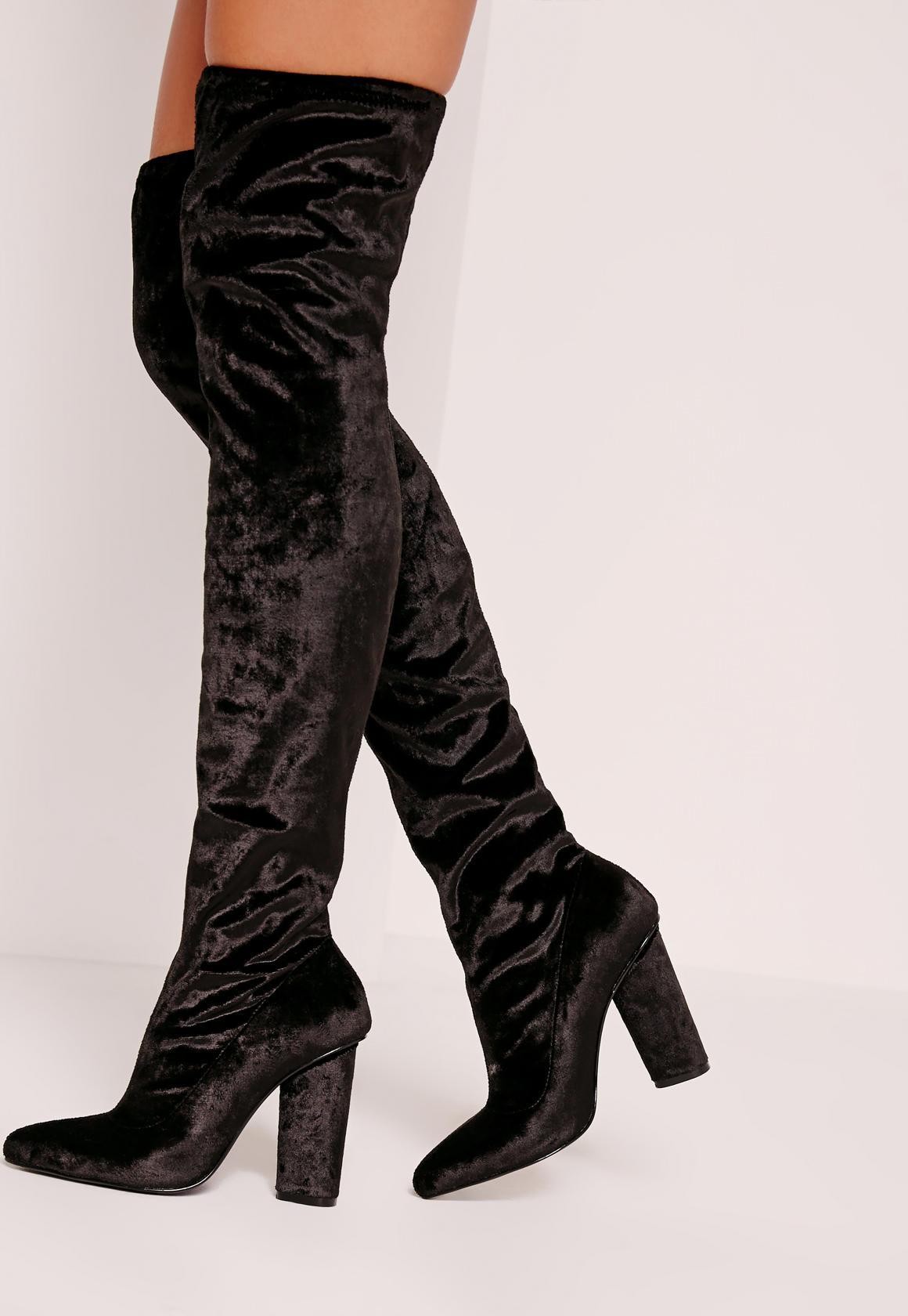 Velvet Over The Knee Boots Black - Missguided