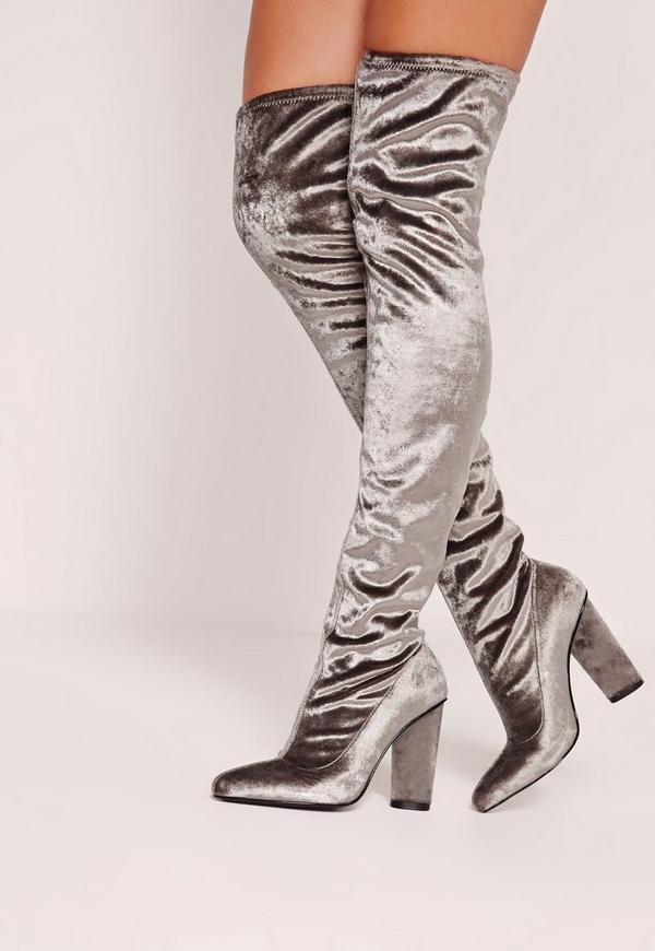 Velvet Over The Knee Boots Grey