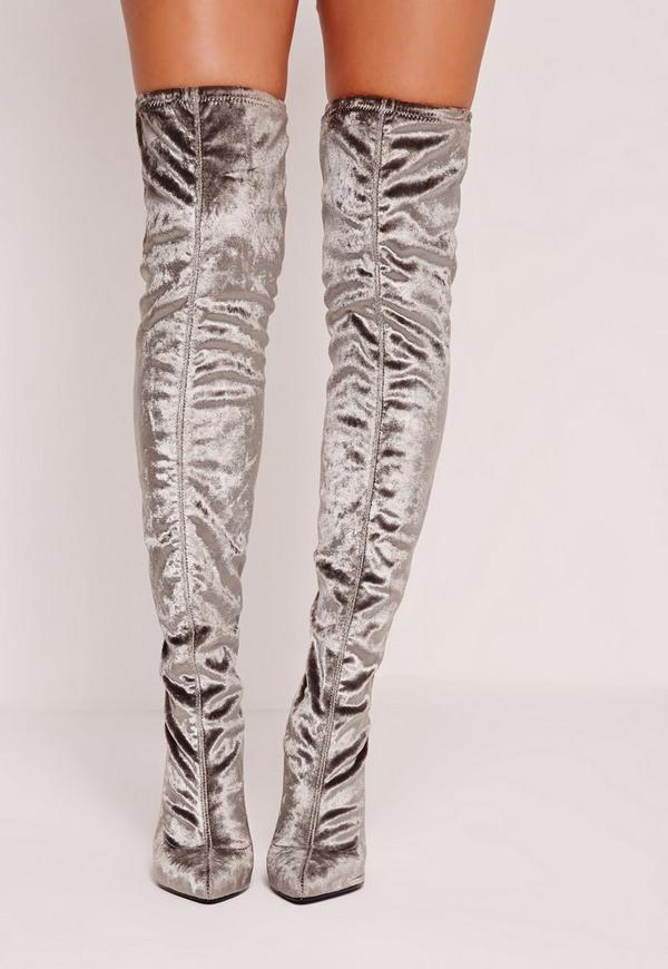 Velvet Over The Knee Boots Grey - Missguided