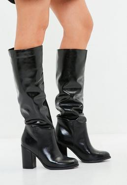 Faux Leather Knee High Boots Black