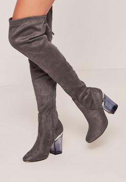 grey faux suede over the knee clear heeled boots