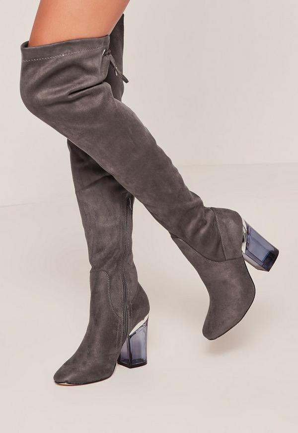 grey faux suede the knee clear heeled boots missguided