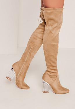 Nude Faux Suede Over The Knee Transparent Heeled Boots