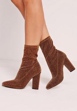 Glitter Sock Boot Gold