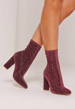 Glitter Sock Boots Pink