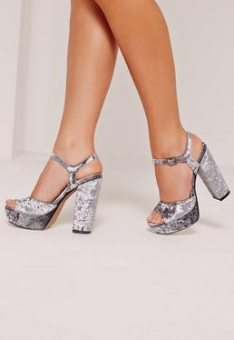 Velvet Barely There Platforms Grey