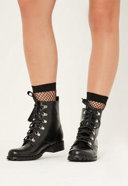 Black Lace Up Studded Sole Boots