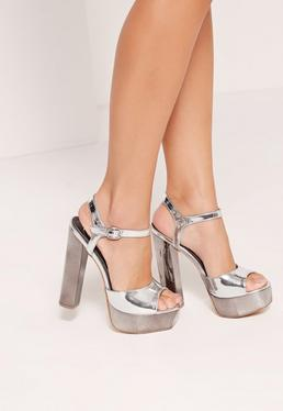 Metallic Platform Sandals Silver