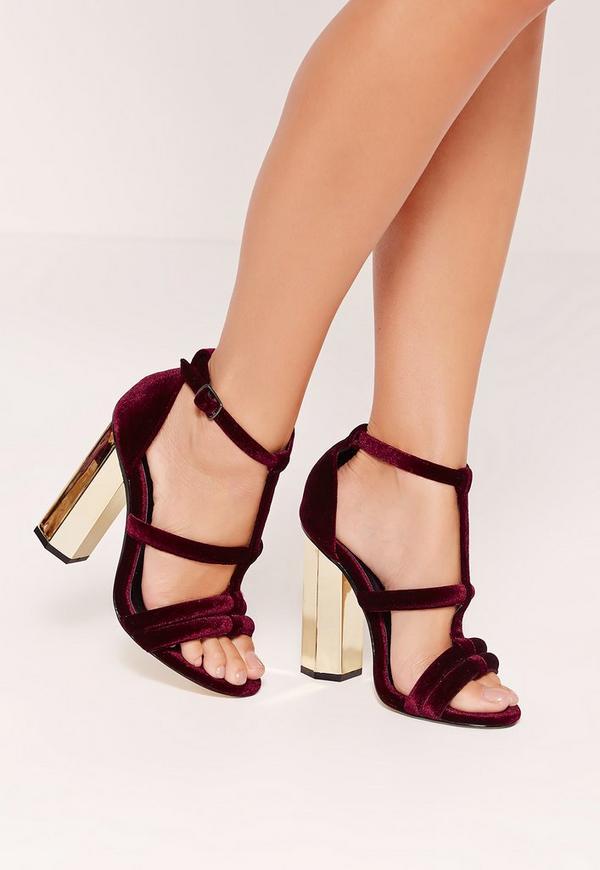 Metal Block Heel Velvet Sandals Burgundy