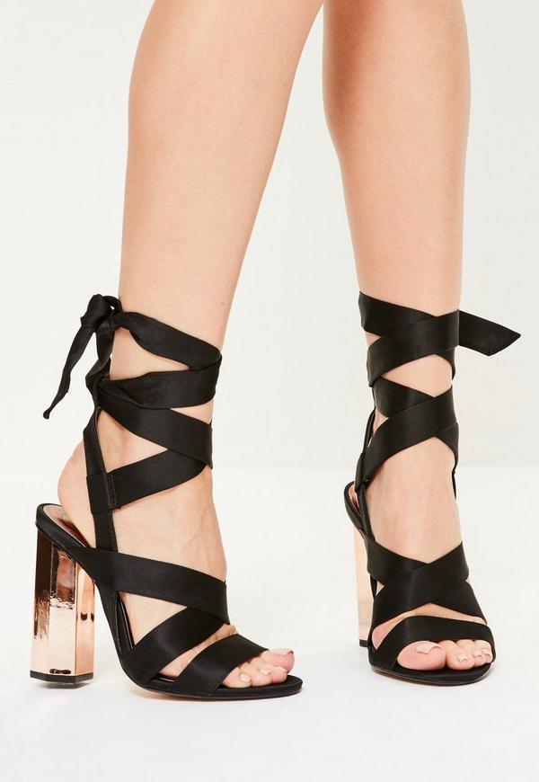 Rose Gold Satin Tie Detail Block Heeled Sandals
