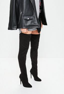 Black Faux Suede Pointed Toe Over The Knee Heeled Boots