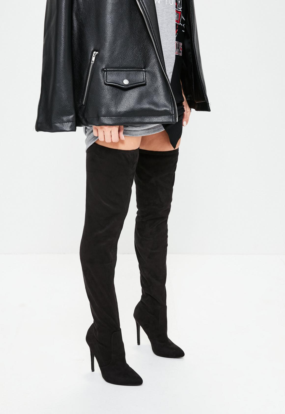 Black Faux Suede Pointed Toe Over The Knee Heeled Boots - Missguided