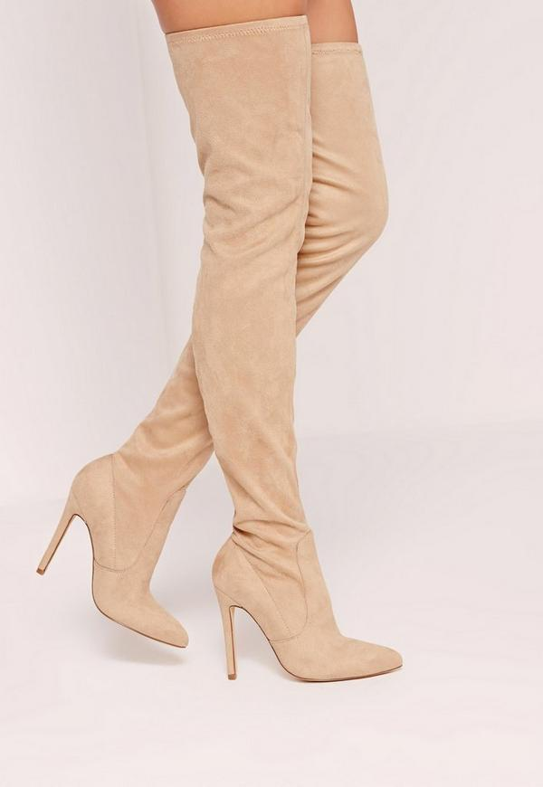 Nude Faux Suede Pointed Toe Over The Knee Heeled Boots | Missguided
