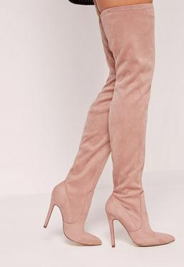 Pink Faux Suede Pointed Toe Over The Knee Heeled Boots