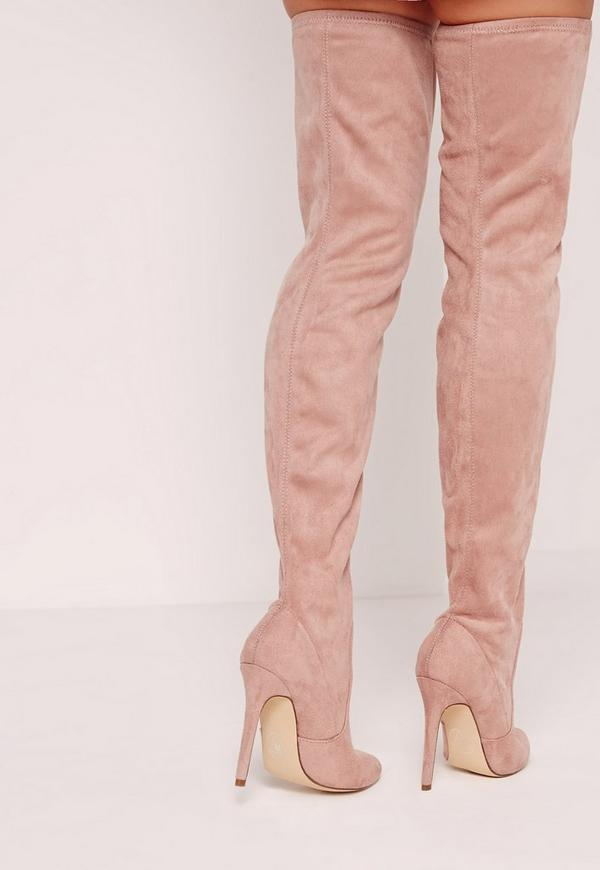 Pink Faux Suede Pointed Toe Over The Knee Heeled Boots - Missguided