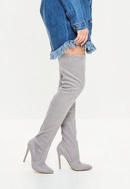 Grey Faux Suede Pointed Toe Over The Knee Heeled Boots