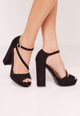 Asymmetric Strap Platform Heeled Sandals Black