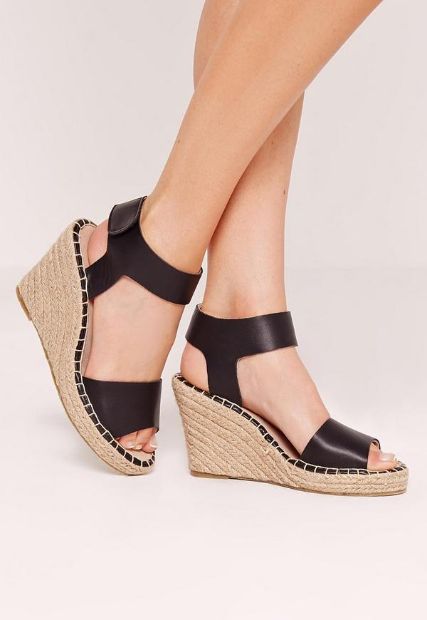 Espadrille Wedge Sandals Black