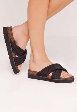 Quilted Cross Strap Sliders Black