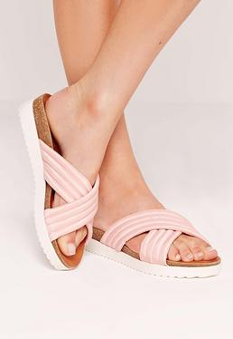 Quilted Cross Strap Sliders Pink