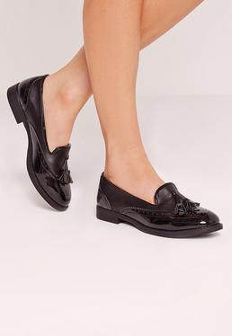Brogue Detail Loafers Black