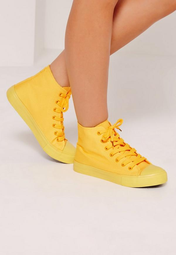 High Top Lace Up Toe Cap Trainers Yellow