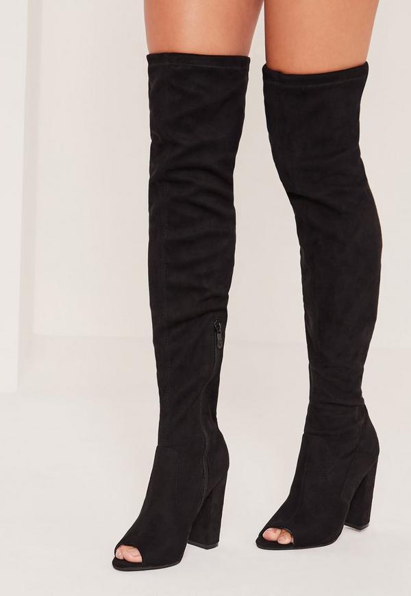 Peep Toe Block Heel Over The Knee Boots Black