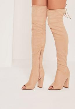 Peep Toe Block Heel Over The Knee Boots Nude