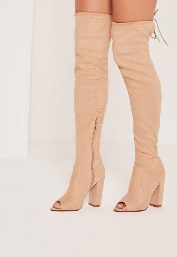 Peep Toe Block Heel Over The Knee Boots Nude