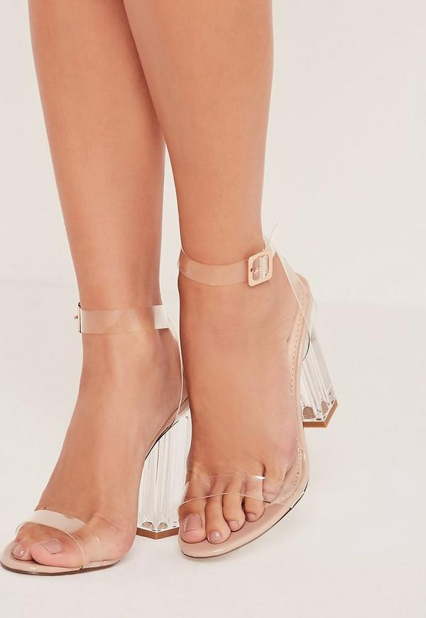 Perspex Block Heel Sandals Nude