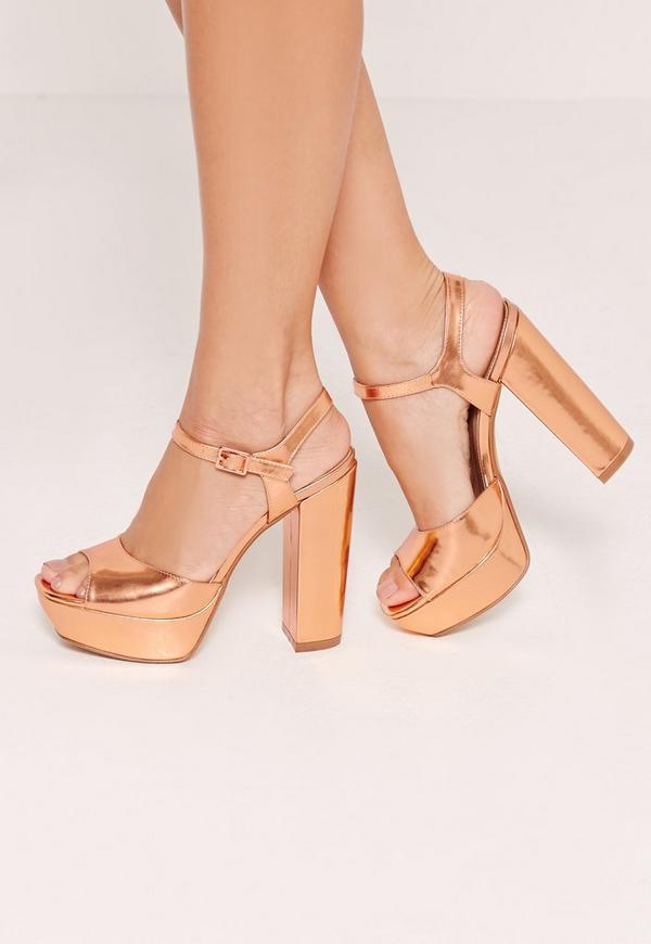 Platform Heeled Sandals Rose Gold