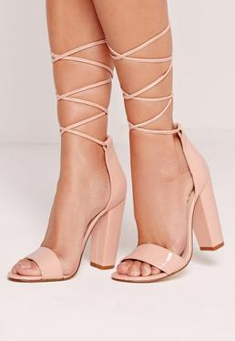 Barely There Wrap Around Block Heels Nude