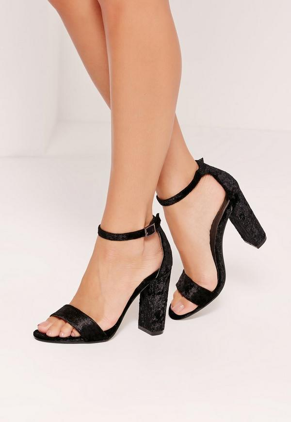 Crushed Velvet Block Heeled Sandals Black