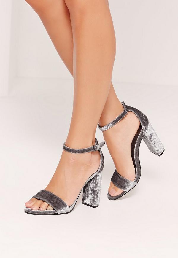 Crushed Velvet Block Heeled Sandals Grey